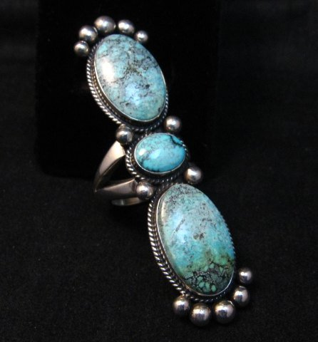 Image 0 of Extra-long Navajo Donovan Cadman Turquoise Silver Ring sz7-1/2