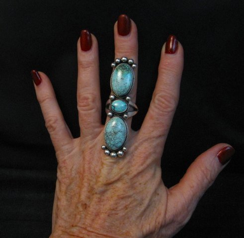 Image 1 of Extra-long Navajo Donovan Cadman Turquoise Silver Ring sz7-1/2