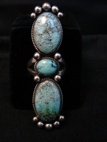 Image 2 of Extra-long Navajo Donovan Cadman Turquoise Silver Ring sz7-1/2