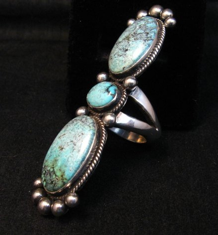 Image 3 of Extra-long Navajo Donovan Cadman Turquoise Silver Ring sz7-1/2