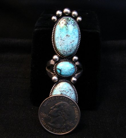 Image 4 of Extra-long Navajo Donovan Cadman Turquoise Silver Ring sz7-1/2
