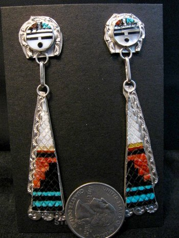 Image 1 of Long Zuni Inlaid Sunface Silver Dangle Earrings, Eldred Martinez
