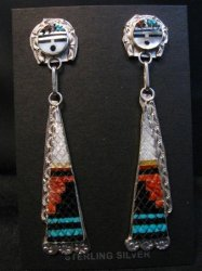 Long Zuni Inlaid Sunface Silver Dangle Earrings, Eldred Martinez