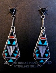 Native American Zuni Multi Inlay Dangle Earrings, S.D. Boone