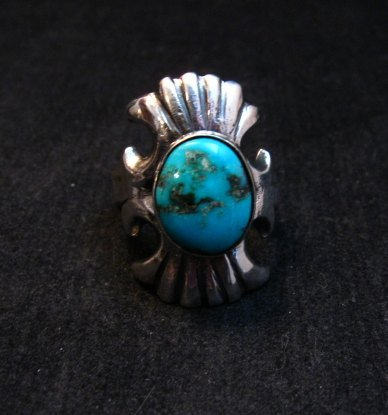 Image 0 of Navajo Sandcast Silver Turquoise Ring Carol & Wilson Begay sz8