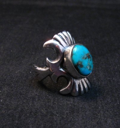 Image 1 of Navajo Sandcast Silver Turquoise Ring Carol & Wilson Begay sz8