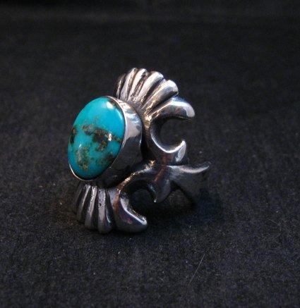 Image 2 of Navajo Sandcast Silver Turquoise Ring Carol & Wilson Begay sz8