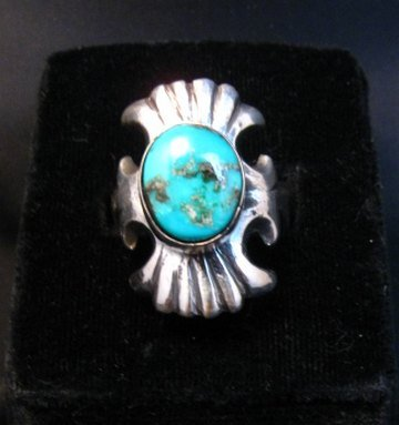 Image 3 of Navajo Sandcast Silver Turquoise Ring Carol & Wilson Begay sz8