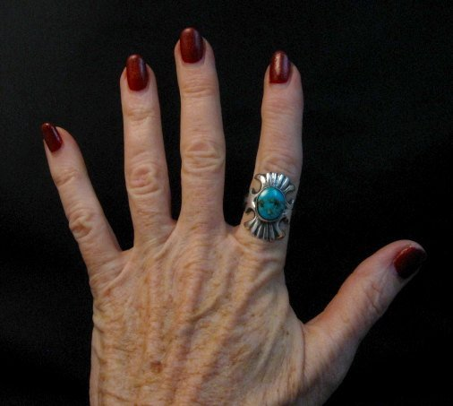 Image 4 of Navajo Sandcast Silver Turquoise Ring Carol & Wilson Begay sz8