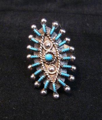 Image 4 of Zuni Indian Turquoise Needlepoint Sterling Ring Philander Gia sz8