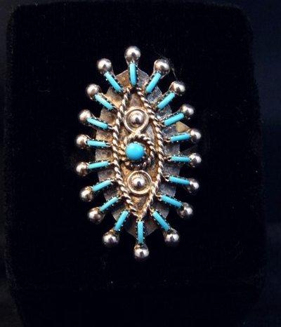 Image 0 of Zuni Indian Turquoise Needlepoint Sterling Ring Philander Gia sz8