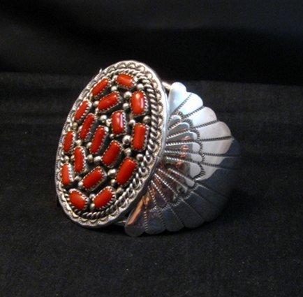 Image 1 of Big Navajo Native American Coral Silver Bracelet