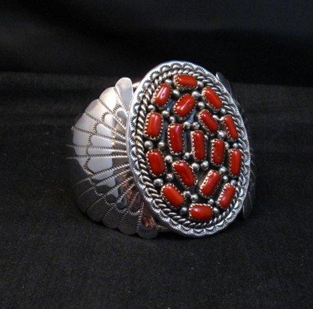 Image 2 of Big Navajo Native American Coral Silver Bracelet