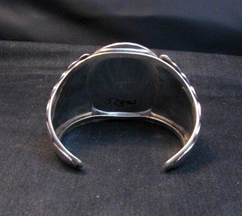 Image 4 of Big Navajo Native American Coral Silver Bracelet