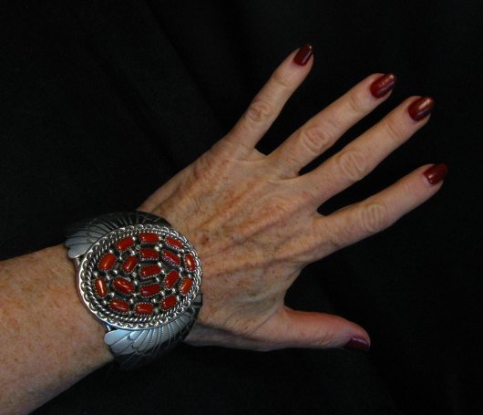 Image 5 of Big Navajo Native American Coral Silver Bracelet