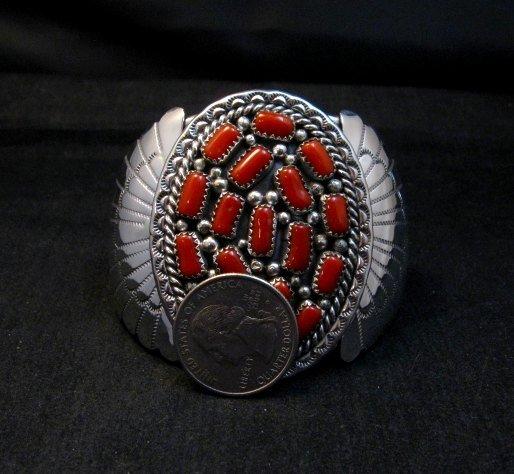 Image 6 of Big Navajo Native American Coral Silver Bracelet