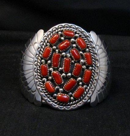 Image 0 of Big Navajo Native American Coral Silver Bracelet