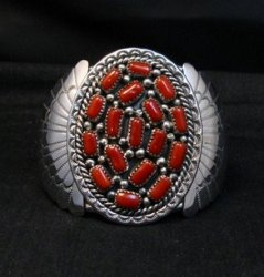 Big Navajo Native American Coral Cluster Earrings, Kenneth Jones