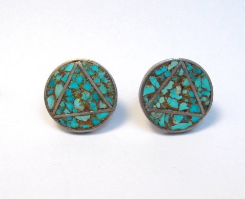 Image 2 of Vintage Native American Turquoise Triangle-in-a-Circle Earrings, Screw-backs