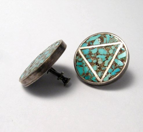 Image 1 of Vintage Native American Turquoise Triangle-in-a-Circle Earrings, Screw-backs