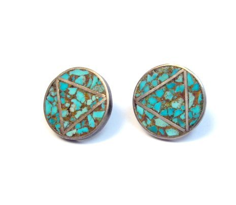 Image 0 of Vintage Native American Turquoise Triangle-in-a-Circle Earrings, Screw-backs