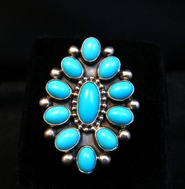 Image 0 of Vintage Navajo Ernest Roy Begay Turquoise Cluster Silver Ring sz4-3/4