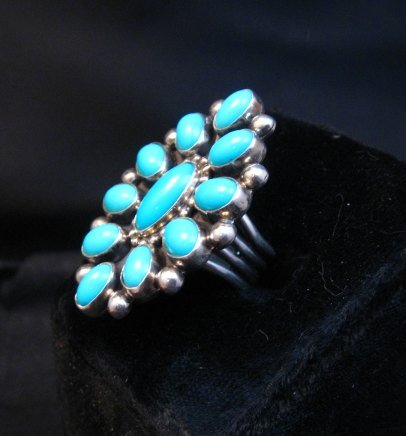 Image 1 of Vintage Navajo Ernest Roy Begay Turquoise Cluster Silver Ring sz4-3/4