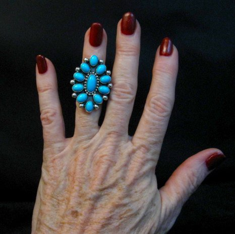 Image 2 of Vintage Navajo Ernest Roy Begay Turquoise Cluster Silver Ring sz4-3/4