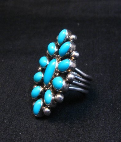 Image 4 of Vintage Navajo Ernest Roy Begay Turquoise Cluster Silver Ring sz4-3/4