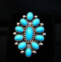 Vintage Navajo Ernest Roy Begay Turquoise Cluster Silver Ring sz4-3/4