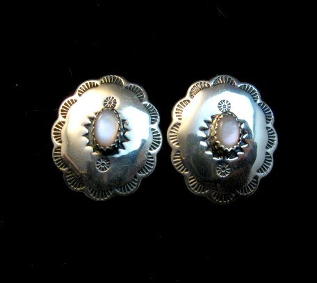 Image 1 of Native American Navajo Pink Mussel Sterling Silver Concho Earrings