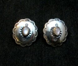 Native American Navajo Pink Mussel Sterling Silver Concho Earrings