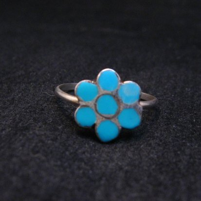 Image 0 of Vintage Native American Turquoise Silver Dishta Style Ring sz5-3/4