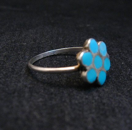 Image 1 of Vintage Native American Turquoise Silver Dishta Style Ring sz5-3/4
