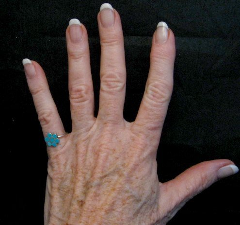 Image 3 of Vintage Native American Turquoise Silver Dishta Style Ring sz5-3/4