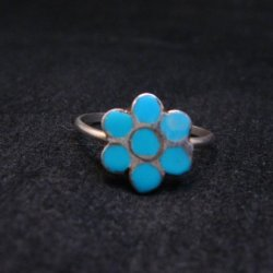 Vintage Native American Turquoise Silver Dishta Style Ring sz5-3/4