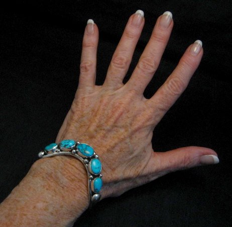 Image 1 of David Lister Navajo Sleeping Beauty Turquoise Silver Bracelet