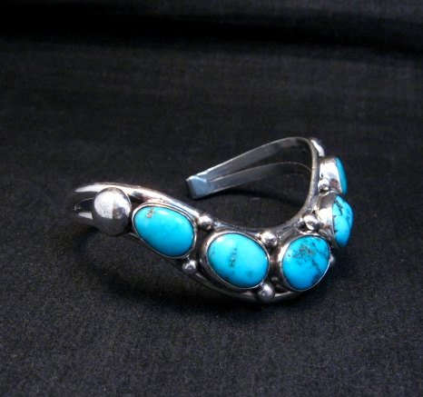 Image 2 of David Lister Navajo Sleeping Beauty Turquoise Silver Bracelet