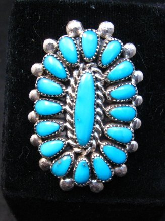 Image 0 of Lorraine Waatsa Zuni Turquoise Cluster Ring sz7-3/4