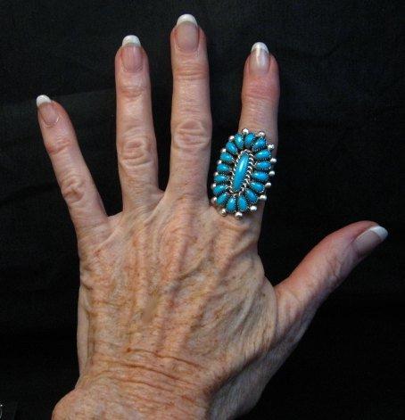 Image 1 of Lorraine Waatsa Zuni Turquoise Cluster Ring sz7-3/4