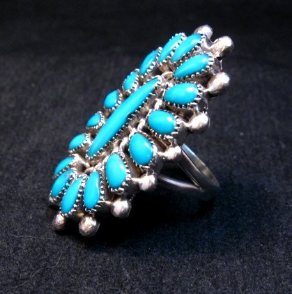 Image 2 of Lorraine Waatsa Zuni Turquoise Cluster Ring sz7-3/4
