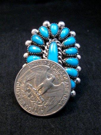 Image 4 of Lorraine Waatsa Zuni Turquoise Cluster Ring sz7-3/4