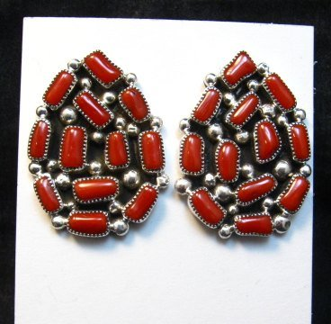 Image 0 of Big Navajo Native American Coral Cluster Earrings, Kenneth Jones