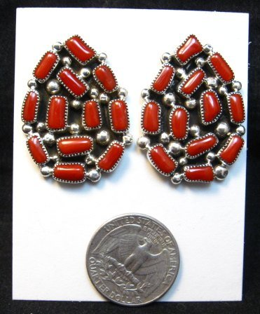 Image 1 of Big Navajo Native American Coral Cluster Earrings, Kenneth Jones