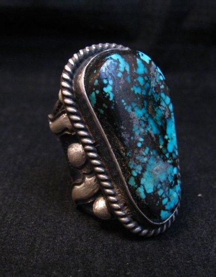 Image 4 of Huge Navajo Derrick Cadman Native American Turquoise Ring sz7-1/2