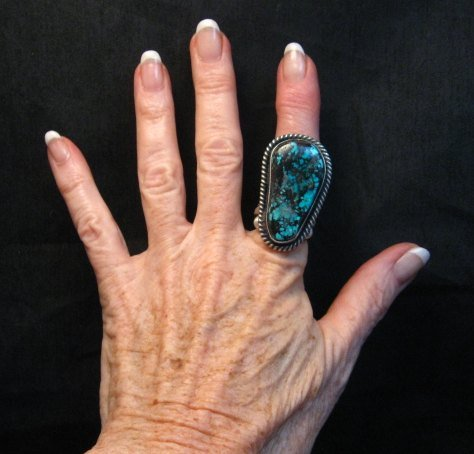 Image 2 of Huge Navajo Derrick Cadman Native American Turquoise Ring sz7-1/2