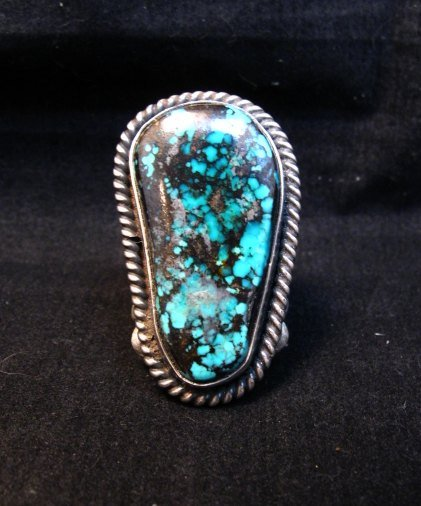 Image 5 of Huge Navajo Derrick Cadman Native American Turquoise Ring sz7-1/2