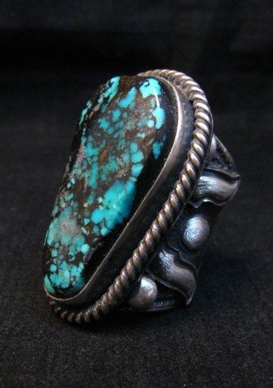 Image 3 of Huge Navajo Derrick Cadman Native American Turquoise Ring sz7-1/2