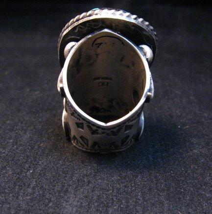 Image 8 of Huge Navajo Derrick Cadman Native American Turquoise Ring sz7-1/2