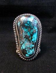 Huge Navajo Derrick Cadman Native American Turquoise Ring sz7-3/4